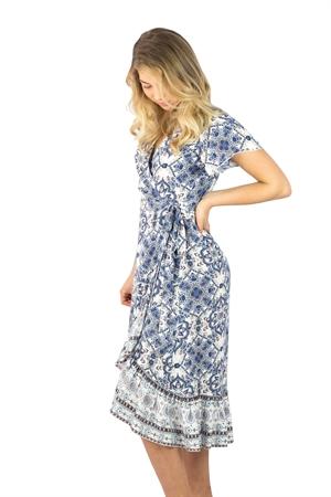 Elvira Dress Saphire Blå/Creme - Capri Collection