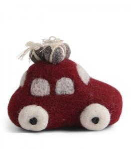 Tovad röd bil med julklappar på taket - En Gry & Sif