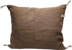ERNST Kuddfodral i linne, kanel - med tofsar