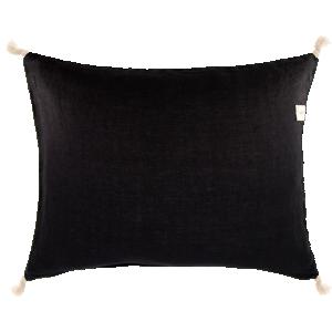 ERNST Kuddfodral i linne, svart - med tofsar