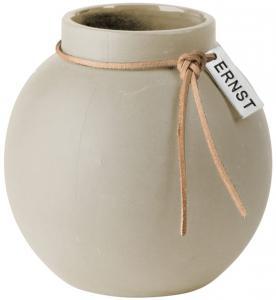 ERNST Rund vas i stengods med läderband, H 10cm (Beige)