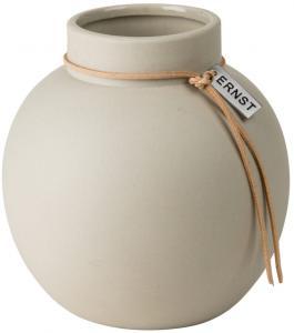 ERNST Rund vas i stengods med läderband, H 14cm (Beige)