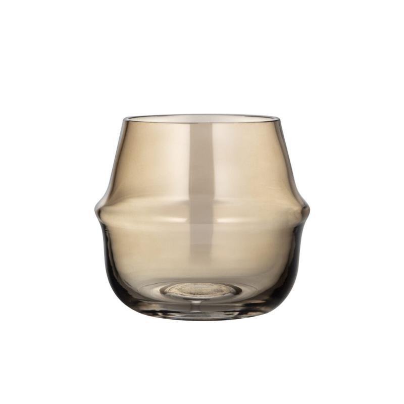 ERNST Ljuslykta/Vas  i glas. Bärnsten - H10cm