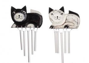 Vindspel liggande katt i trä-svart eller vit