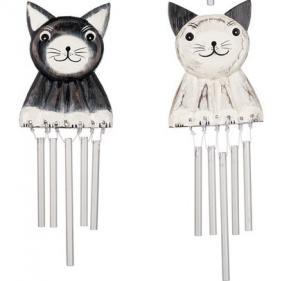 Vindspel Sittande katt i trä-svart eller vit