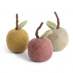 Färgglada äpplen i tovad ull, set om 3 - En Gry & Sif