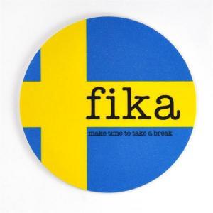 Glasunderlägg: fika (svenska flaggan) - Mellow Design