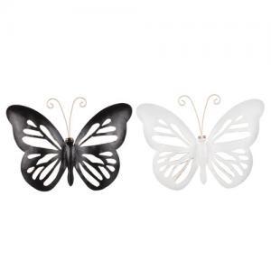 Fjäril i plåt för vägg, svart eller vit