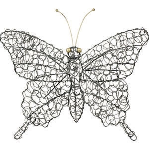 Fjäril för vägg i silverfärgad tråd