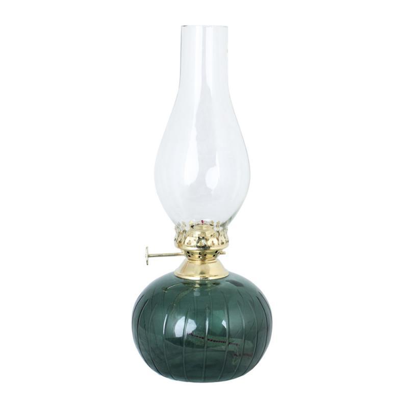 Fotogenlampa Oval Rand Grön Mässing