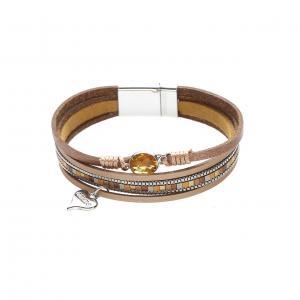 Armband, 4 läderremmar i kopparfärgade nyanser (Gemini)