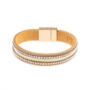 Armband, Läderrem med guldkedja och strass Gemini