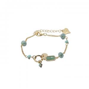 Armband, länk i guld med ljusgröna stenar