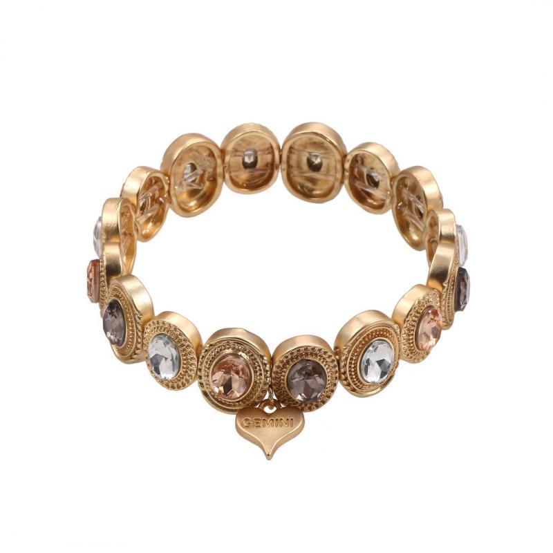Gemini Armband, Elastiskt med metallbrickor i guld och färgade stenar.
