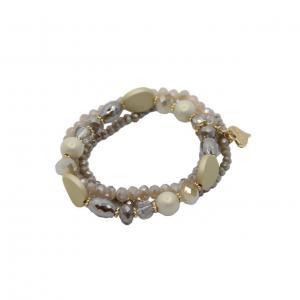 Armband, elastiskt med 3 band med olika pärlor i creme/sand/guld (Gemini)