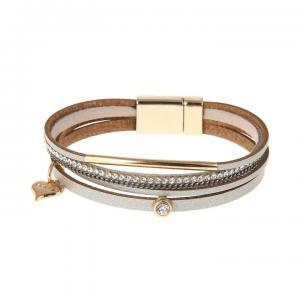 Armband, 4 silverfärgade läderremmar med strass och gulddetaljer (Gemini)