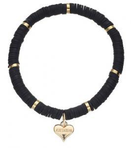 Armband, Elastiskt med platta svarta och guldpärlor - Gemini