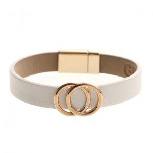 Armband, Vit läderrem med 2 guldiga cirklar (Gemini)