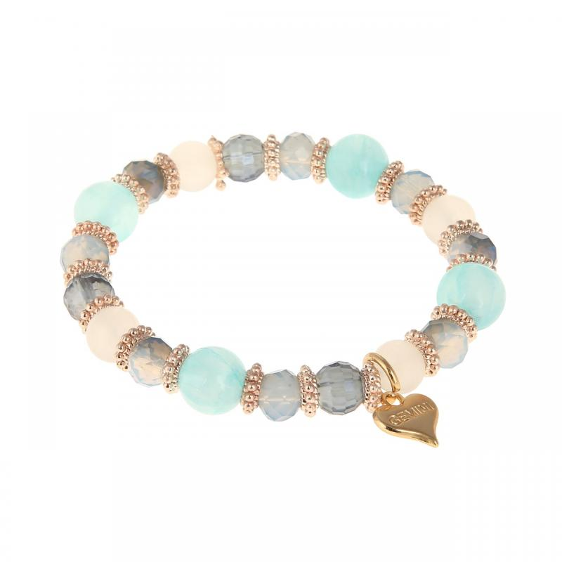 Gemini Armband, elastiskt i blått/turkose