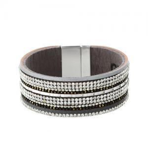 Armband, Bred grå läderrem med strass och festliga detaljer - Gemini