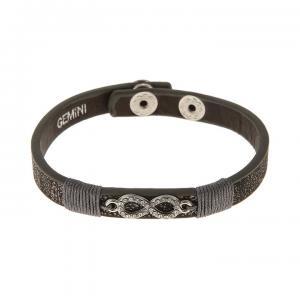 Armband, Gråsvart metallic läderrem med evighetstecken (Gemini)