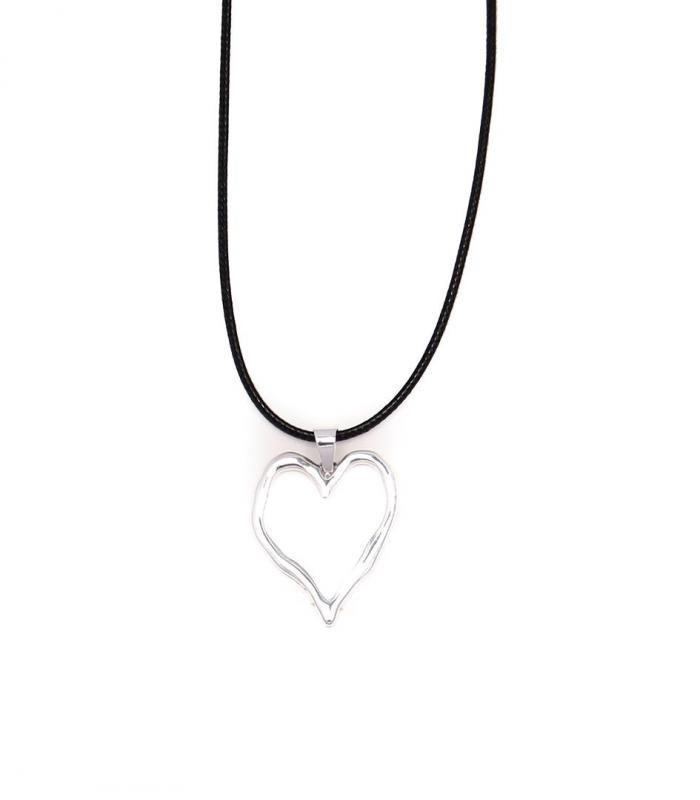 Gemini Halsband, Silverfärgad hjärta med svart läderband (kort)