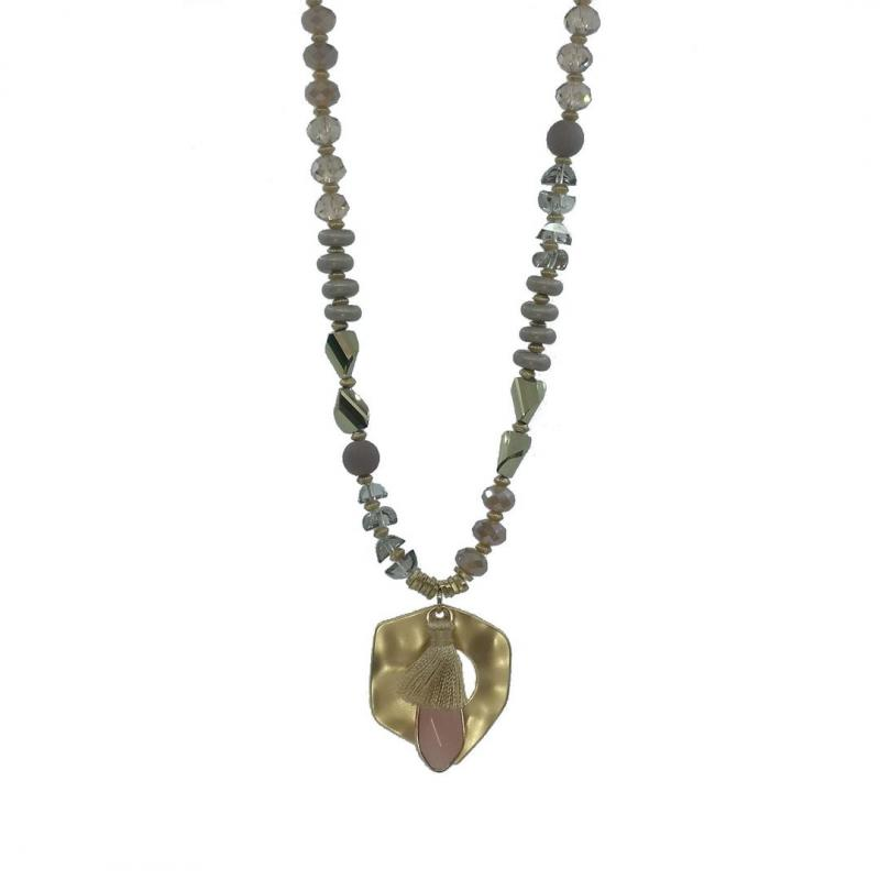 Gemini Halsband, kort - rosa/ljung/sand/guld