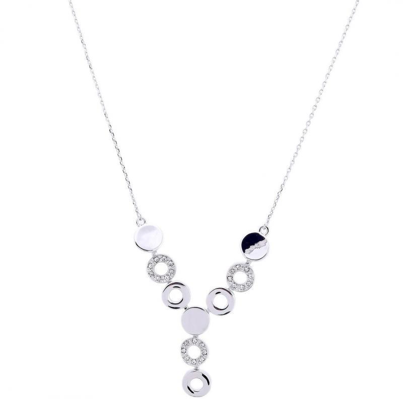 Gemini Halsband, Silverpläterat med vita stenar (kort)