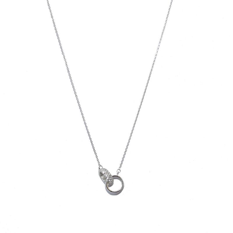 Gemini Halsband, 2 ringar silver/strass