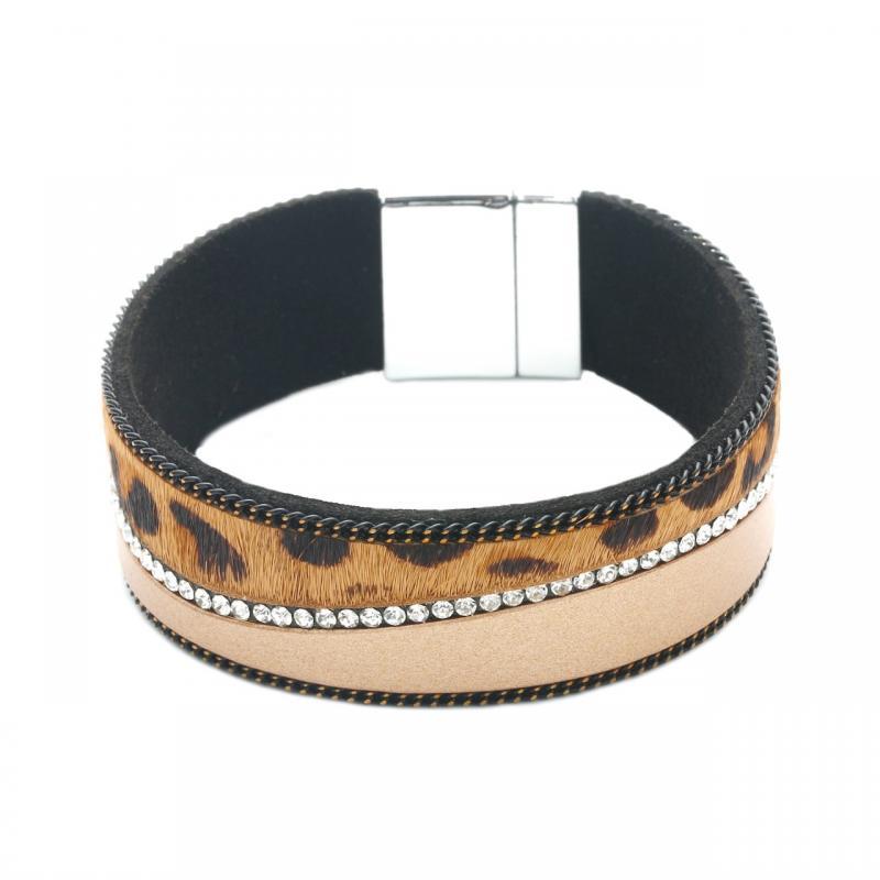 Gemini Armband, Rem leo i kamel/brons/brunt