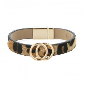 Armband, Leo läderrem med 2 guldiga cirklar (Gemini)