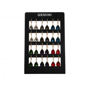 Gemini Örhänge, Droppformat hänge - rökfärgad sten