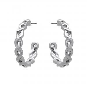 Örhängen, Flätad silverfärgad ring - Gemini