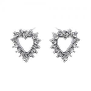 Örhängen, Hjärta med strass i silverfäste - Gemini