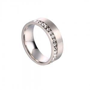 Gemini, Ring i rostfritt stål - Borstad silver med strass