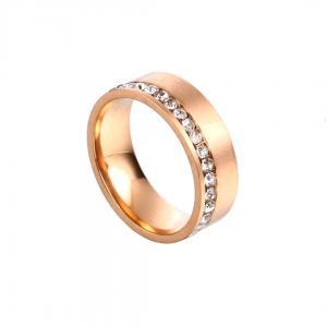Gemini, Ring i rostfritt stål - Borstad guld med strass