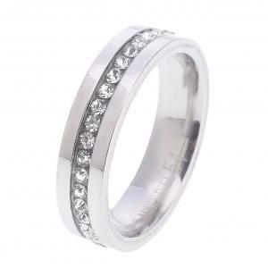Gemini, Ring i rostfritt stål - Borstat stål med en rad strass i mitten