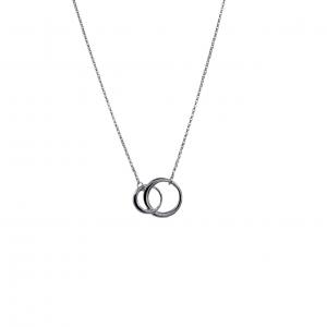Halsband, 2 silvriga ringar (evighetstecken) i tunn kedja (Gemini)