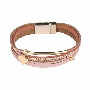 Armband, 4 rosa läderremmar med strass och gulddetaljer (Gemini)