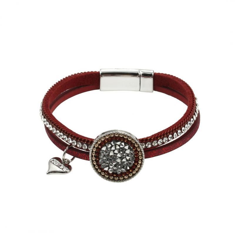 Gemini Armband, 2 remmar i julrött, med strass
