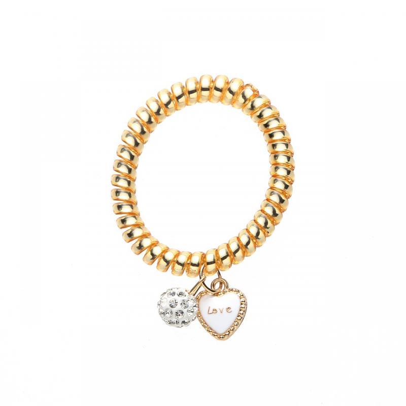 Gemini Armband/Hårsnodd i guldfärgad plastspiral