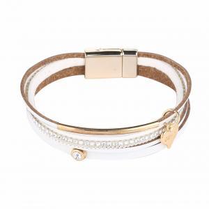 Armband, 4 vita läderremmar med strass och gulddetaljer (Gemini)