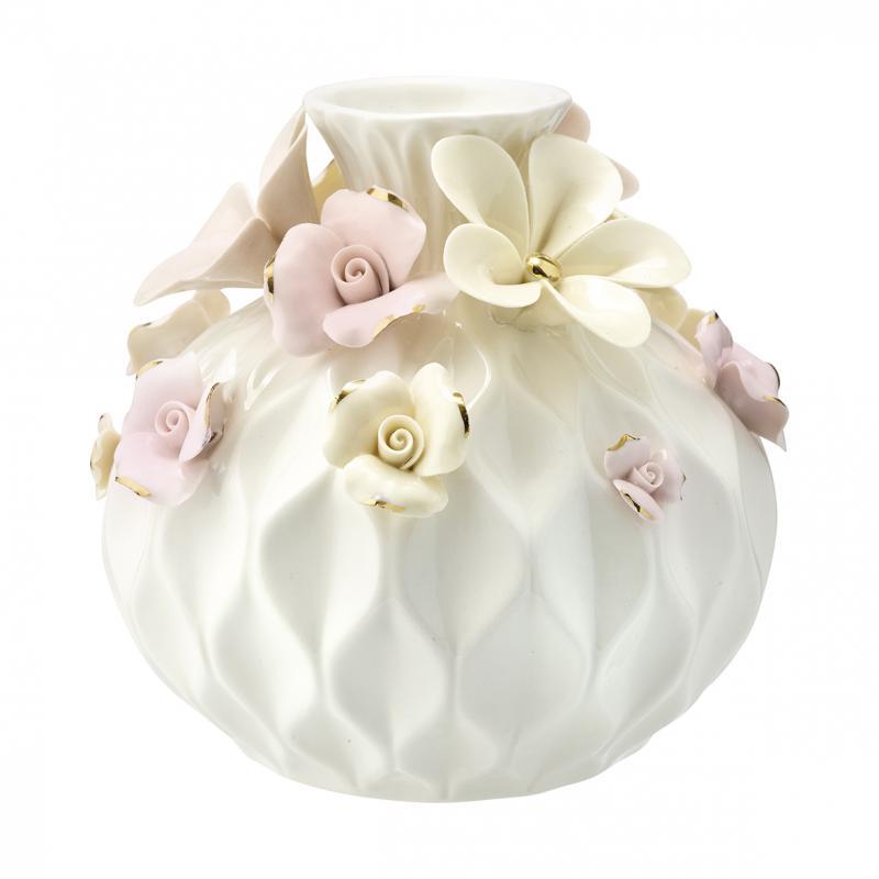Vas Daisy dusty cream w/gold round large