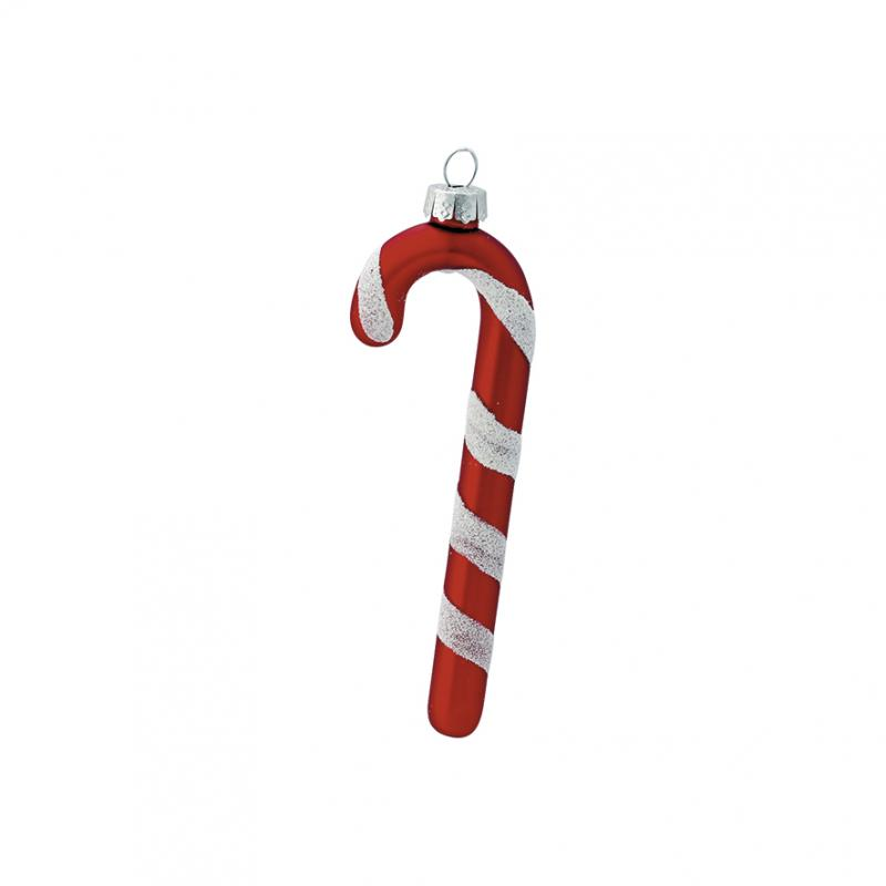Ornament glas Candy cane red set of 2