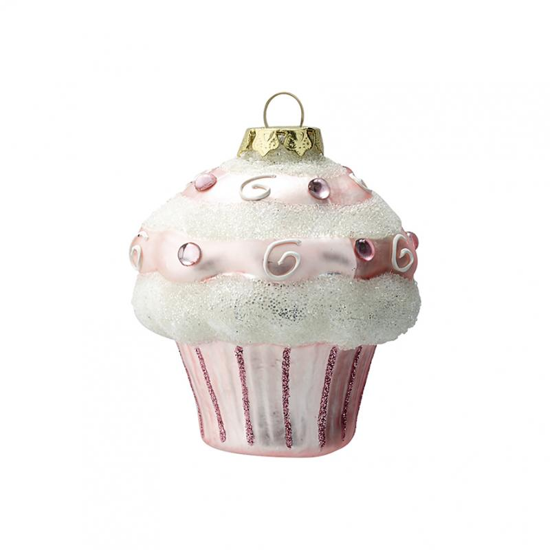 Ornament glas Cupcake pale pink