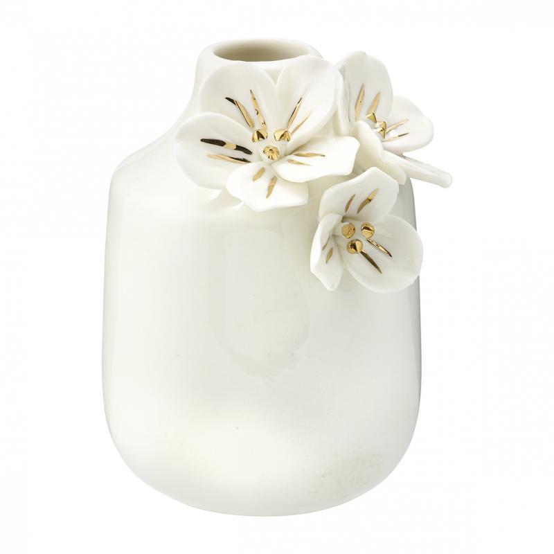 Vas Anemone white w/gold small