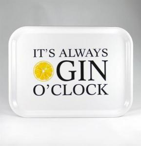 Bricka: It´s always Gin o´clock (vit) - Mellow Design (rektangulär)