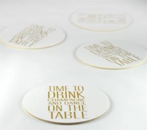 Glasunderlägg: Time to drink champagne... (vit/guld) - Mellow Design