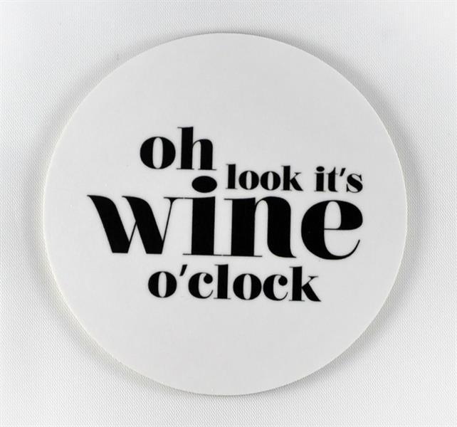Glasunderlägg: Oh look it´s wine o´clock (vit) - Mellow Design