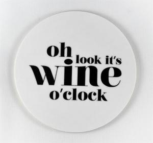 Glasunderlägg: Oh look it´s wine o´clock (vit) - Mellow Design